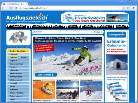 Onlinemarketing im Ausflugsziele.ch Winter-Special 2009/10