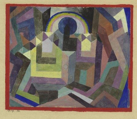 Paul Klee mit dem Regenbogen. Aquarell auf Kreidegrundierung auf Papier, mit Aquarell eingefasst, auf Karton 17,4 x 20,8 cm. Privatbesitz Schweiz, Depositum im Zentrum Paul Klee, Bern