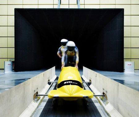 Der Citius-Hightech-Bob im Windkanal. Bild ETH Zürich/Pablo Faccinetto.