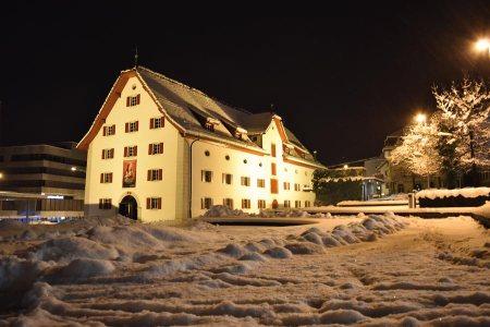 Das Forum Schweizer Geschichte Schwyz auf der Hofmatt, im Schneegstöber anfangs Februar 2019 © Foto Peter Furrer, Schweizerisches Nationalmuseum